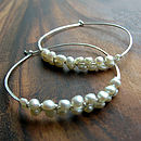 Woven pearl hoop earrings