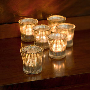 Set Of Six Fluted Glass Tea Light Holders - parties