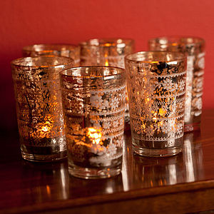 Six Antiqued Silver Tea Light Holders - christmas lights