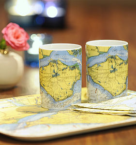 Nautical Seaside Solent Chart Tea Mug