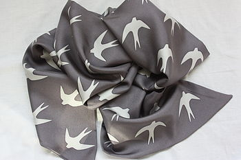 Swallow Print Silk Scarf - Grey