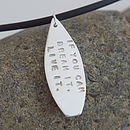 """Silver Surfer"" Personalised Silver Surfboard Dude Necklace"