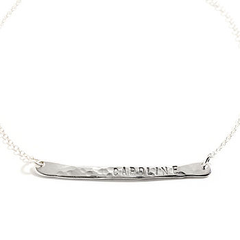 Silver Personalised Tag Horizontal Necklace
