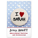 Personalised 'I love...' Fabric Badge
