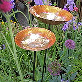 Copper Chalice Garden Bird Bath Sculpture - garden