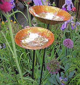 Copper Chalice Garden Bird Bath Sculpture - gardener