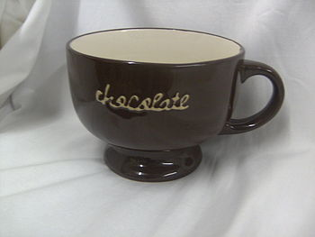 Cup - Large Decorated Pottery Cup - Chocolate