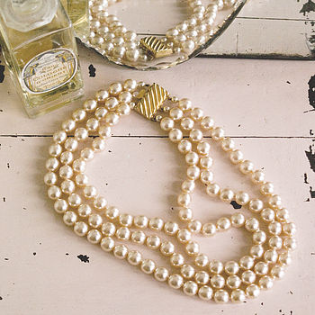 Vintage Triple Strand Faux Pearl Necklace