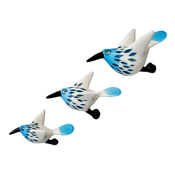 Blue Feather Flying Trio