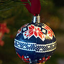 Blue and Red Scandinavian Print Bauble