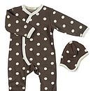 Spotty romper & hat brown