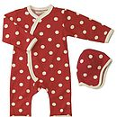 Spotty romper & hat red