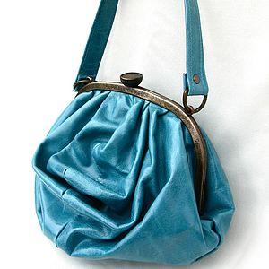 Leather Gathered Bag With Grab Handle