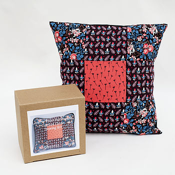 Cushion Cover Sewing Kit: box and finished cushion cover.