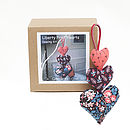 Hanging Hearts Sewing Kit: box and finished hearts.