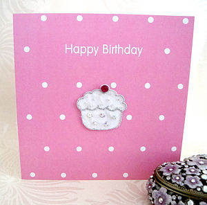 Hand Embroidered Cupcake Birthday Card