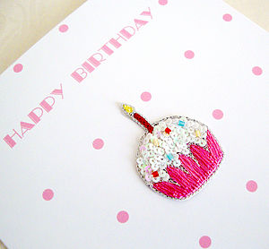 'Happy Birthday' Hand Embroidered Cards - birthday cards