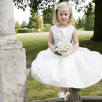 Amy Twinkle Silk Flower Girl Dress With Crystal Trim