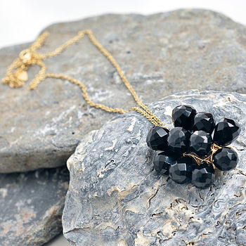 Black Bubble Necklace 14K Gold Fill