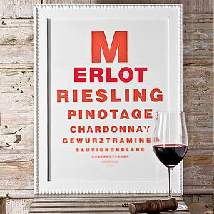 Wine Chart Poster - gifts for her