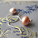 Pearl Drop earrings in shell pink handmade by Rachel Lucie