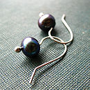 Pearl Drop earrings in plum handmade by Rachel Lucie