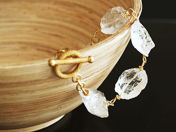 Raw Nugget Rock Crystal Quartz Bracelet