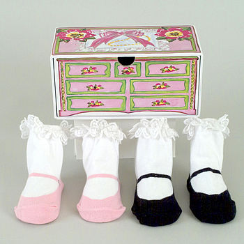 Tea For Two Baby Socks & Keepsake Box