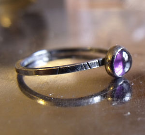 Amethyst Oxidised Silver Stacking Ring - rings