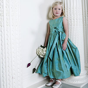 Amy Jewel Coloured Silk Flower Girl Or Party Dress - wedding and party outfits