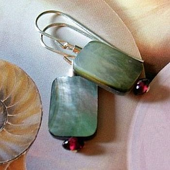 Mother Of Pearl And Garnet Earrings