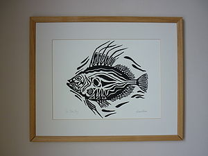 John Dory Lino Cut Print - paintings & canvases