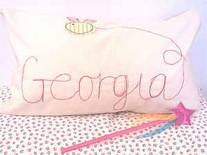 Personalised Girl's Embroidered Cushion - children's room