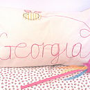 Personalised Girl's Embroidered Cushion