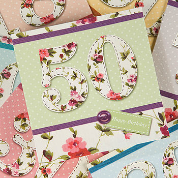 Age Birthday Card - Vintage Florals