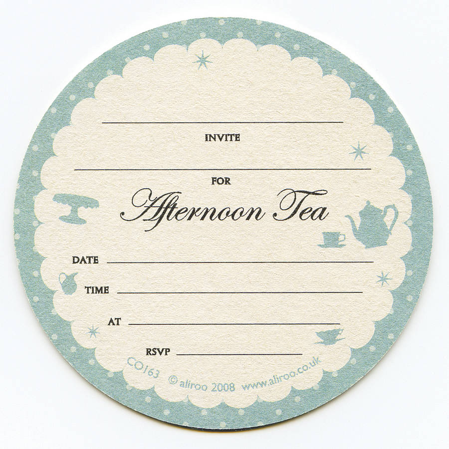 afternoon tea coaster invitations by aliroo notonthehighstreetcom