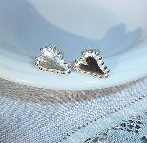 Silver Heart And Bead Earrings