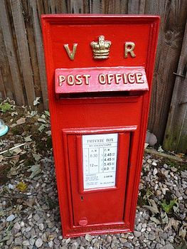 Vintage Style Post Box With Letters V R