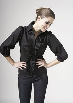 Black ¾ Blouson Sleeve With Organdie Frill