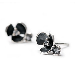 Oxidised Flower Earrings - earrings