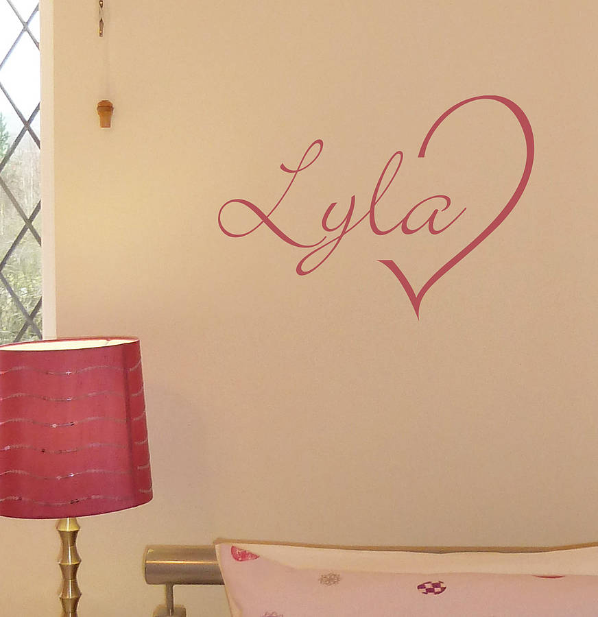 Personalised heart name wall sticker
