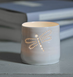 Porcelain Dragonfly Tea Light - lighting