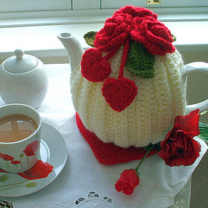 Handmade Hearts And Flowers Tea Cosy - kitchen linen