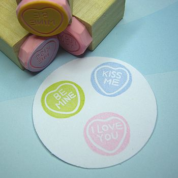 Set of Mini Message Hearts Hand Carved Rubber Stamps