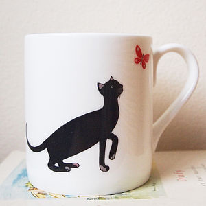 Cat And Butterfly Mug - for pet lovers