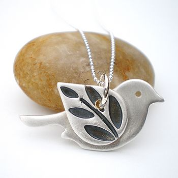 Silver Bird With Leafy Wing Pendant