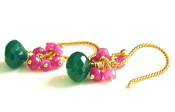 Pink Ruby And Green Onyx Gold Earrings