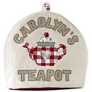 personalised teapot cosy - red trimmed