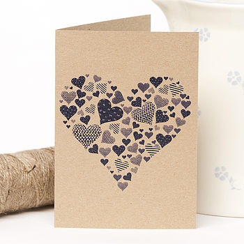 Recycled Rustic Navy Heart Greetings Card