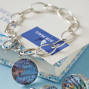 Personalised Location Silver Map Bracelet - frequent traveller